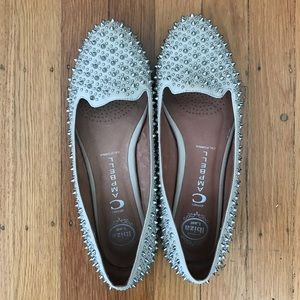 Nude Jeffrey Campbell studded loafers